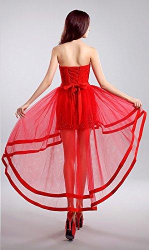 Beauty-Emily High-Low Asymmetrische Cocktailparty-Kleider Spitze-Abend-Kleider Rot