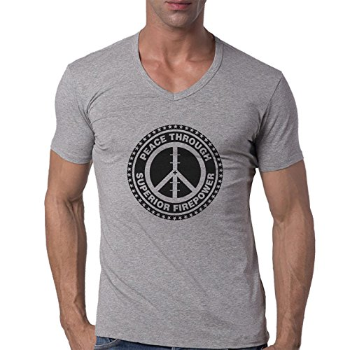 Peace Through Superior Firepower Logo Herren V-Neck T-Shirt Grau