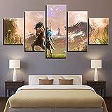 rkmaster-5 Pièces Peinture sur Toile Zelda Légende Jeu Cheval Dessin Animé Personnages De La Maison Décoration Imprimer Affiche Mur Art Cadre