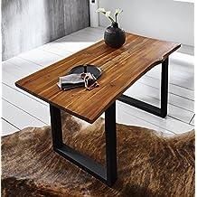 SAM Esszimmertisch 160x85 cm IDA, Cognac, Massiver Esstisch aus Akazienholz, Metallbeine Schwarz, Baumkantentisch