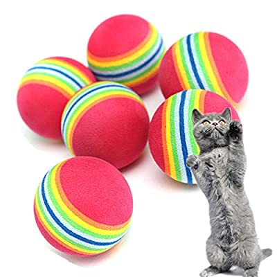 Trillycoler 6pcs 3.5cm Pet Cat Dog Coloured Soft Foam Rainbow Colorful Play Chew Chase Balls