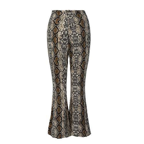 SIOPEW Mode FéMinine Sexy Imprimé Serpent Taille Haute Fermetures À GlissièRe Longues Pantalons Flare (Racing Kostüm Für Männer)