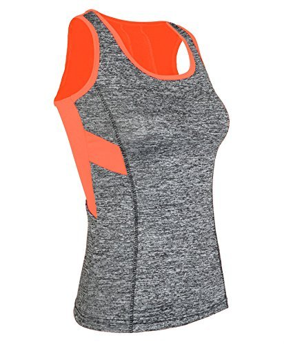 LotMart Damen Weste Tank Capri Leggings Damen Active Wadenhoch Hose eng Yoga Top - Weste Neon Orange, S-M (EU36/38 UK8/10 US4/6)