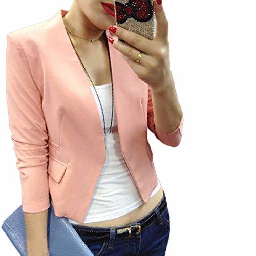 KPILP Femme T-Shirts et Tops de Sport Femme 2019 Nouveau Printemps et été Femme La Mode Couleur Unie Bulle-Manche Petite Veste de Costume (Rose,FR-44/CN-M)