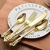 Set di posate vintage placcato oro, con forchetta, cucchiaio, cucchiaino e coltello, 4pezzi con incisione