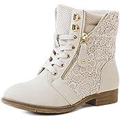 Stylische Damen Stiefeletten Worker Boots Spitze in hochwertiger Lederoptik