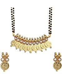 Zeneme White Gold-plated Temple Coin Mangalsutra Pendant with Chain and Earrings for Women