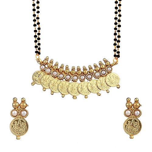 Zeneme White Temple Coin Mangalsutra Pendant With Chain And Earrings For Women