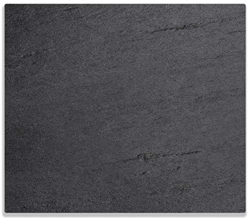 Wallario Herdabdeckplatte/Spritzschutz aus Glas, 1-teilig, 60x52cm, für Ceran- und Induktionsherde, Schwarze Schiefertafel Optik - Steintafel