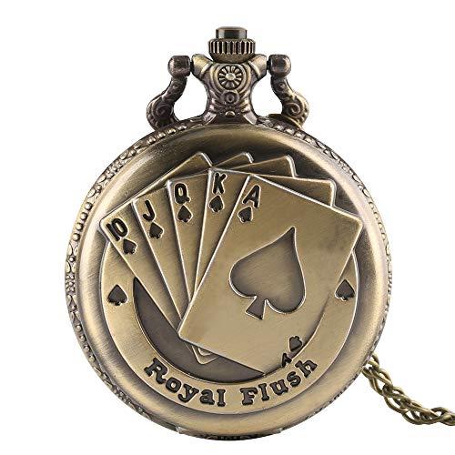 Herren Taschenuhr, Vintage Bronze Kupfer Royal Flush Poker Karten Taschenuhr Uhr Halskette Kette, Geschenk für Herren