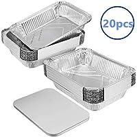 RNT Sartenes de Papel de Aluminio más Grueso de 20 Piezas con Tapas de Placa para cocinar, Asar, Asar, Hornear。
