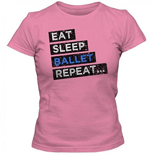 Hobby Ballett #1 T-Shirt | Ballett-Shirt | Eat Sleep Repeat | Tanzen | Frauen | Shirt, Farbe:Pink (Orchid Pink L191);Größe:M (Tänzerin Damen-pink T-shirt)