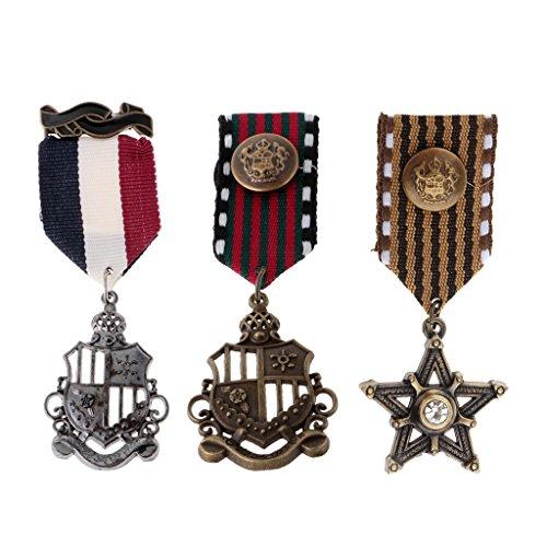 Vintage Broschen Und Kostüm Pins - MagiDeal 3 Stücke Vintage Herren Sterne Medaille Abzeichen Kleidung Mode Kostüm Marine Brosche