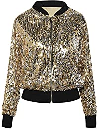 PrettyGuide Women's Sequin Blazer Long Sleeve Sparkly Bomber Jacket