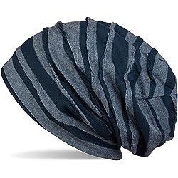 styleBREAKER Gorro Beanie clásico con Estampado de Pliegues, Beanie Largo, Unisex 04024053, Color:Azul-Rayas Azul Claro