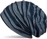 styleBREAKER klassische Beanie Mütze mit Falten Muster, Longbeanie, Unisex 04024053, Farbe:Blau-Hellblau gestreift (One Size)