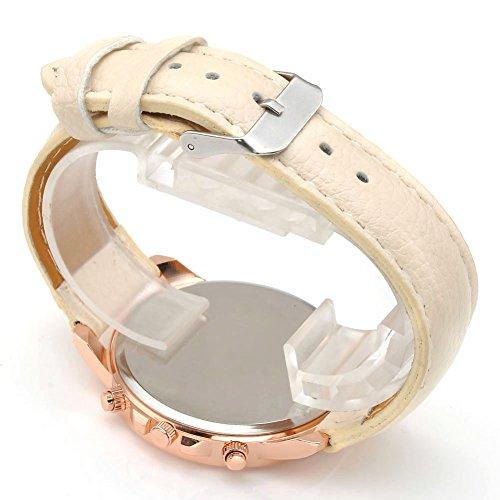 JSDDE Uhren,Neue Damenmode Genf römischen Ziffern-Leder Analog Quarz Armbanduhren(Beige) - 3