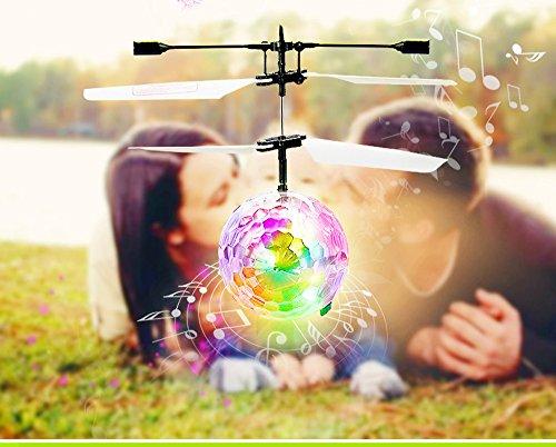 Tonsee RC Fliegen Ball Drohne Hubschrauber Ball Integrierten Shinning LED Beleuchtung für Kinder Spielzeug (Klar)