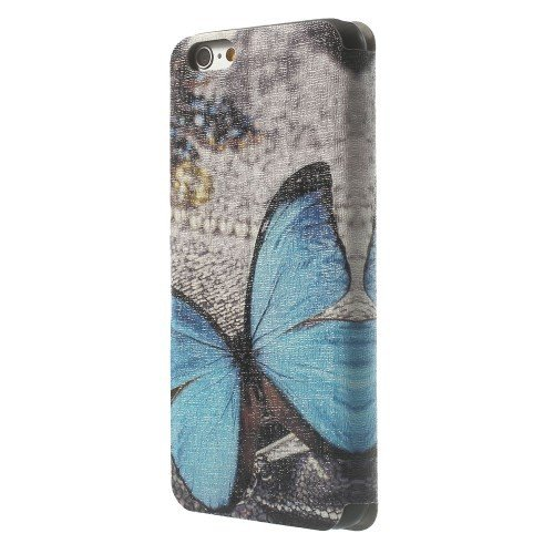 jbTec® Flip Case Handy-Hülle zu Apple iPhone 6 / 6s - DUFT BOOK - Handy-Tasche, Schutz-Hülle, Cover, Handyhülle, Bookstyle, Booklet, Motiv / Muster:Blauer Schmetterling S07 Blauer Schmetterling S07