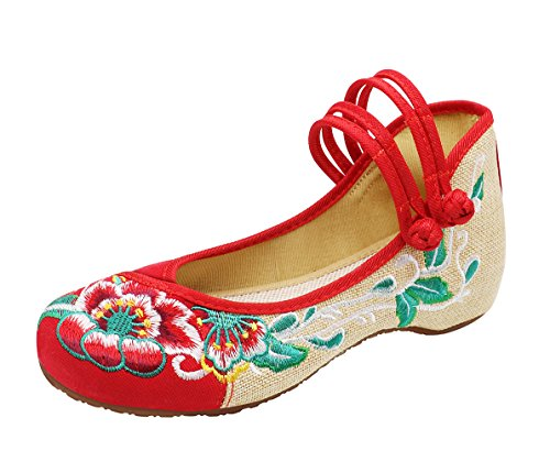 Icegrey Damen Doppel-Bgel Bestickt mit niedrigem Keil Mary Jane Schuhe Rot