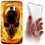 Samsung Galaxy J7 (Modell 2016) J710 Softcase Hülle Cover Backkover Softcase TPU Hülle Slim Case für Samsung Galaxy J7 (Modell 2016) J710 (1061 Totenkopf Skull Flammen Gelb Gold)