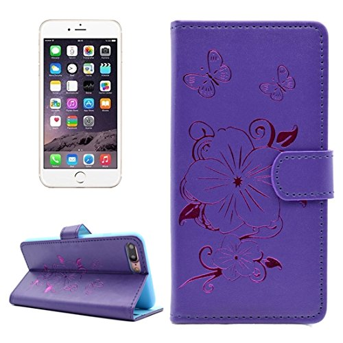 GHC Cases & Covers, Für iPhone 7 Plus Bronzing Butterfly Pattern Horizontale Flip PU Ledertasche mit Halter & Card Slots & Wallet ( Color : Yellow ) Purple