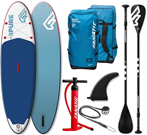 Fanatic Pure Air inflatable SUP 10.4 Stand up Paddle Board mit Pure Paddel 2018 (Tasche Paddle Board)