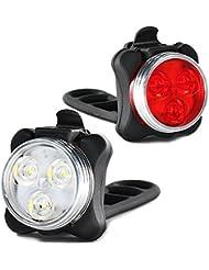 PINGLI Luci per Bicicletta Luci Bici LED Impermeabile Luci USB Ricaricabili Bici Contiene Uno Luce Anteriore Uno Fanale Posteriore, 4 modalità, 2 Cavi USB Incluso