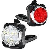Wiederaufladbare LED-Fahrradlichter Set, Wasserdicht USB LED Fahrradbeleuchtung mit Aufladbar 650 mAh Akku, LED Fahrradlampe Kinder Fahrradlicht Fahrrad Rücklicht Set, 4 Licht-Modi, 2 USB-Kabel-OUSPT