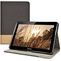 kwmobile Funda para Samsung Galaxy Tab 2 10.1 - Case delgado para tablet con soporte - Smart Cover slim para tableta en negro marrón