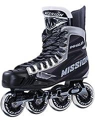 Misión inhalador NLS: 06Inline Roller Hockey patines–Senior, color negro, tamaño 7.0 E