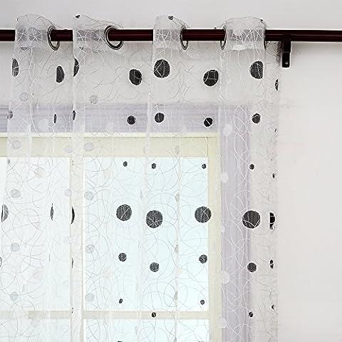 Top Finel cortina transparente de tratamientos para ventana panele bordado de lunares nido de p¨¢jaro 195 cm anchura por 245 cm longitud,blanco,de ojales,solo