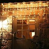 Schimer Lichterkette außen Lichterkette strombetrieben, Lichterkette warmweiß mit Fernbedienung, Lichterkette innen Lichtervorhang Weihnachtsbeleuchtung für Weihnachten Balkon Hochzeit Party