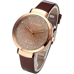 JSDDE Uhren,Elegante Damen Armbanduhr Braunglas Glitzer Dial XS Slim PU Leder-Band Ladies Dress Analog Quarzuhr,Dunkelbraun