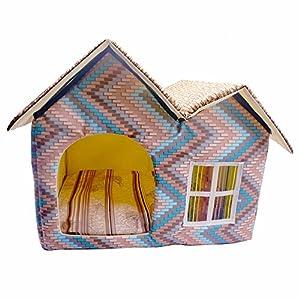 Chenil chien chat maison PET lit hiver hutte léger animal abri intérieur luxe oreiller coussin chaud Soft mat Pet Supplies 50X40X45cm Greatlpk