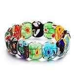 LBZDR Bracelet Bracelet en Verre de Mode à la Main Bricolage Stretch Mille Mignon Fleur rangée Main émaillée
