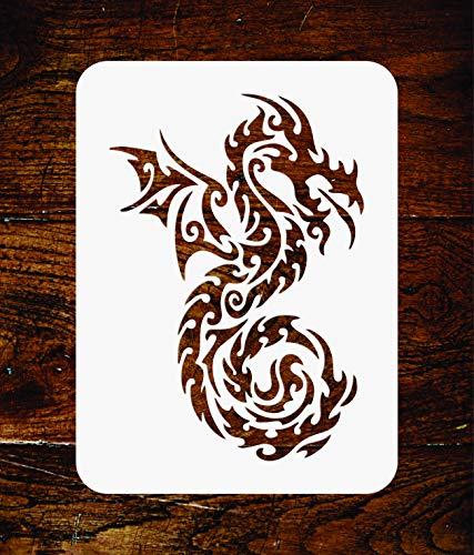 Plantilla de diseño de dragón tribal - 11,5 x 16,5 cm - Plantilla de pared reutilizable oriental asiático chino japonés