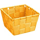 Wenko Adria - Cesta para el baño y el hogar de forma cuadrada, material plástico tejido, de tamaño mini, 14 x 9 x 14 cm, color naranja