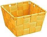 WENKO 20364100 Aufbewahrungskorb Adria Mini Orange - Badkorb,  quadratisch,  Kunststoff-Geflecht,  Polypropylen,  14 x 9 x 14 cm