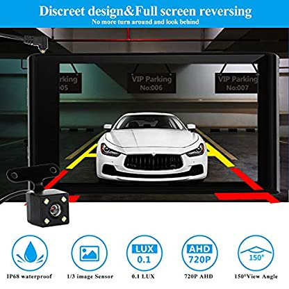 Yakola-X5-3Lens-Dashcam-RckfahrkameraUltra-1080P-Full-HD-43-IPS-Touchscreen-Dual-LED-Nachtsicht-Vorne-hinten-Innere-Autokamera-430Parkberwachung-Bewegungserkennung-G-Sensor