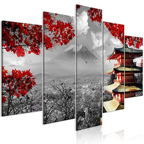 murando Cuadro Japon 100x50 cm impresión de 5 Piezas en Material Tejido no Tejido impresión artística fotografía Imagen gráfica decoración de Pared - Paisaje Blanco Negro Rojo c-C-0241-b-m