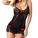 OdeJoy Mode Frau Sexy Spitze Nachthemd Bogen Dessous Versuchung Unterwäsche Erotisch Kleid Nachthemd Erotisch Kleid Ausgefallene Dessous Reizunterwäsche Tanga Höschen (1 PC, Rot)