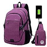 Super Modern - Sac à dos unisexe en nylon avec prise de chargement USB pour ordinateur portable - Pour fille et garçon, style sportif - Ensemble avec un grand sac à dos et un sac à bandoulière Large violet