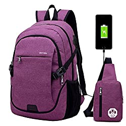 Super Modern Unisex Nylon School Backpack With Usb Charger Port Laptop Bag For Teen Girls & Boys Cool Sports Backpack 2 Bags Set 1 Big Backpack & 1 Shoulder Bag