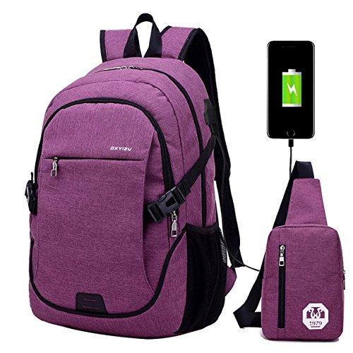 Super Modern - Mochila escolar unisex de nailon con puerto de carga USB, preparado para portátil. Moderna mochila deportiva. Set de dos: una mochila grande y un bolso al hombro., mujer, Others, morado, 1 Large backpack+ 1 small shoulder bag