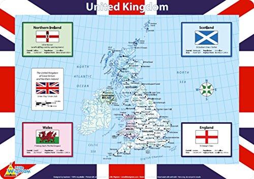 Little Wigwam - Karte Großbritanniens Platzdeckchen Platzset Tischset Für Kinder (Englisch)