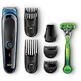Braun Multigroomer MGK3040 7-In-1 Bartschneider (Rasierer, Barttrimmer und Bodygroomer mit Gillette Body) schwarz/blau