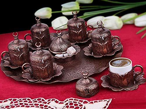 Lussodor Hochwertige 20 teilige 'Vile' Kaffee-Kannen Set mit Halbmond und Tulpen Motive,...