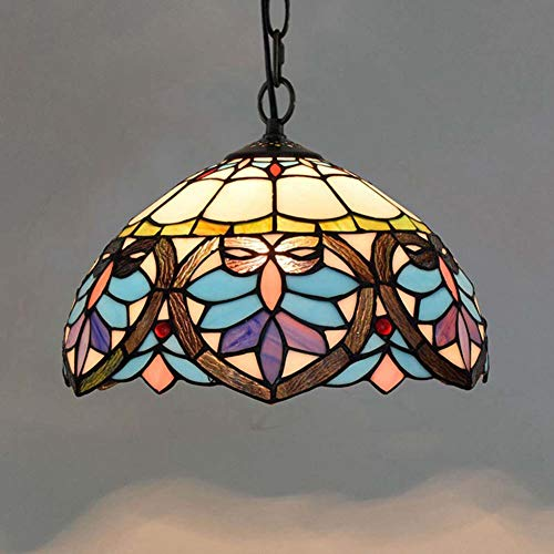 Dobany Euro Kreative Tiffany Stil Kronleuchter Glasmalerei Blau Liebe Herz Kette Retro pendelleuchte Restaurant Bar Insel licht 12 Zoll