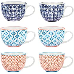 Nicola Spring Patterned Vintage Style Tea Cups, Cappuccino, Coffee - 3 Designs, 250ml - Set of 6